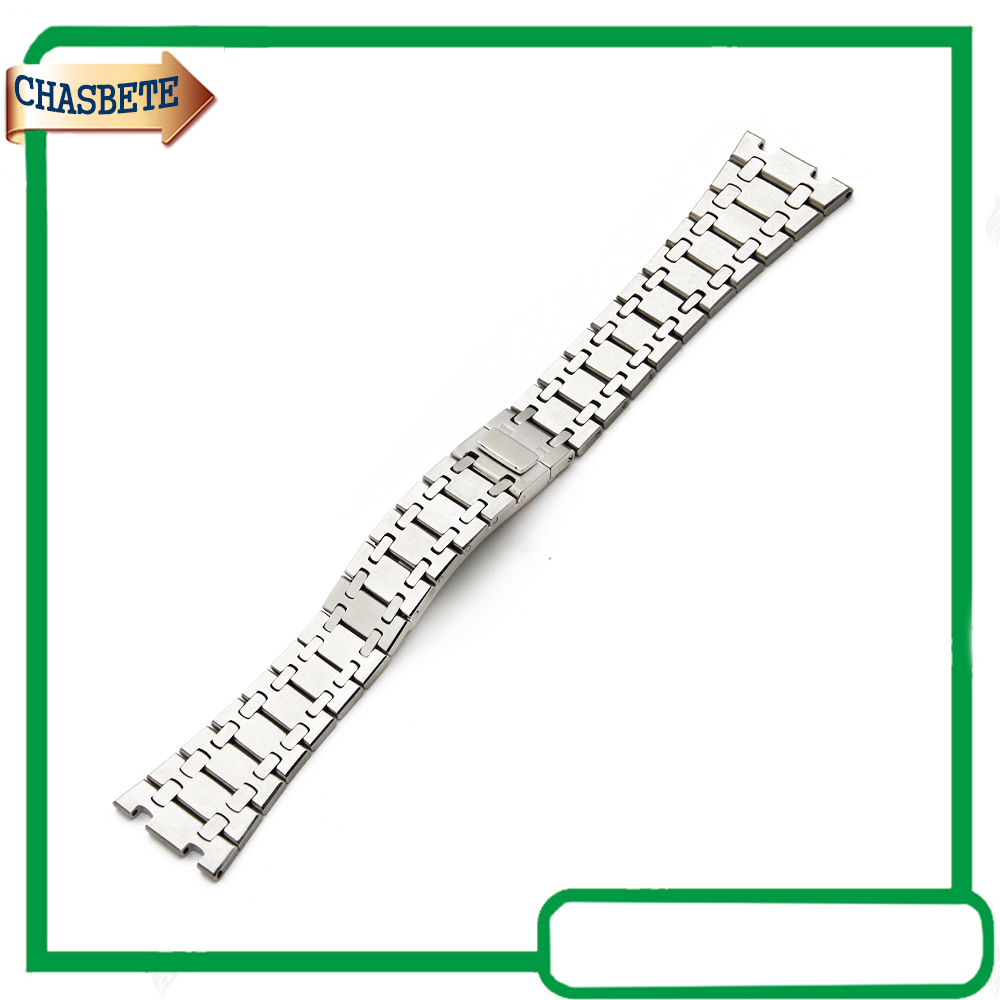 Stainless Steel Watch Band For AP Watchband 23mm Men Women Butterfly Clasp Metal Strap Belt Wrist Loop Bracelet Silver 28mm convex stainless steel watchband replacement watch band butterfly clasp strap wrist belt bracelet black rose gold silver page 6