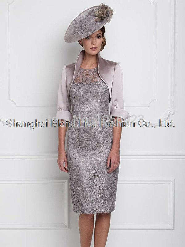 5c4e025c7c0 2014 New Two Piece Lace Mother of The Bride Outfit Wedding Party Dress  Formal Suit Free Jacket Knee Length Custom Made Plus Size-in Mother of the  Bride ...