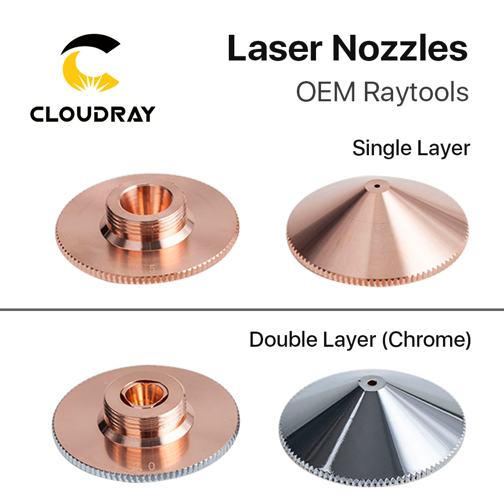 Cloudray Laser Nozzle Single Double Layers Dia.32mm Caliber 0.8 - 6.0 For Raytools Empower BT240 1064nm Fiber Laser Cutting Head