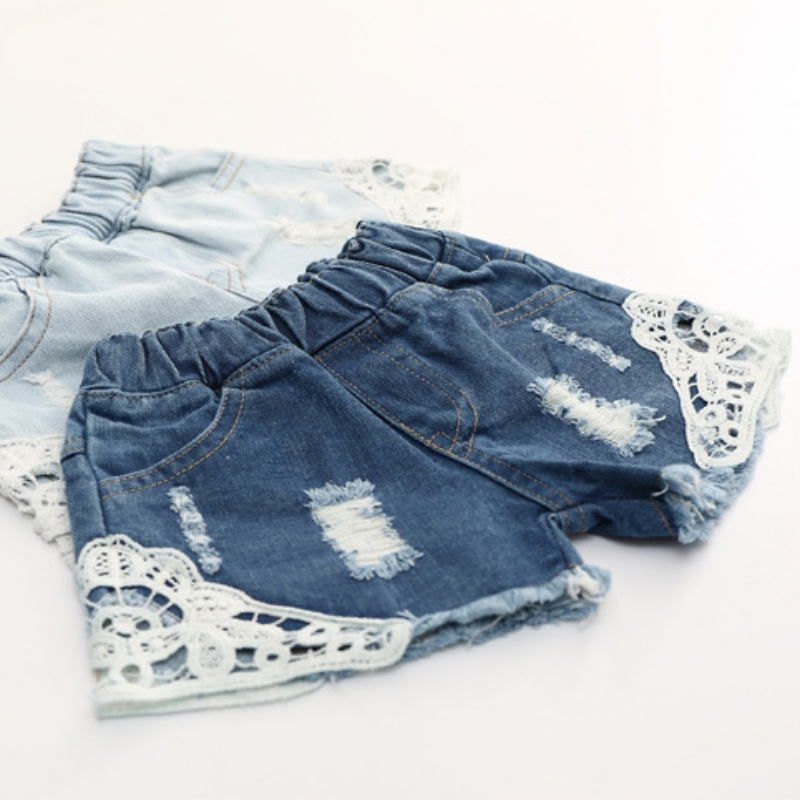 2018 Fashion Lace Shorts Kids Girls Cute Hole Jeans Shorts Short Pants Pocket Denim Shorts Baby Jeans Children Clothes italian style fashion men s jeans shorts high quality vintage retro designer classical short ripped jeans brand denim shorts men