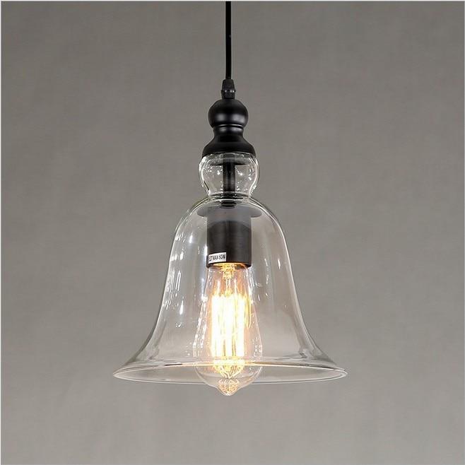 Modern Bell Shape Pendant Light Gl Lampshade Hanging Lamp E27 Edison Vintage Lighting For Dining Room Home Decor Bullet Points