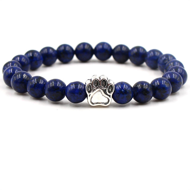 7 Colors 8mm Colourful Natural Stone Beads Bracelets Dog Cat Footprint Paw Charms Bracelet Pet Lover Strench Jewelry