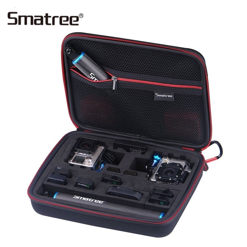 Smatree Carrying Case For Gopro Hero 7/6/5/4/3+/3/2/1/SJCAM sj4000/Xiaomi Yi G260SL 2 Gopro Cameras Accessories Bag justone j029 3m vhb safety tether for gopro hero 4 3 3 2 1 sj4000 blue red