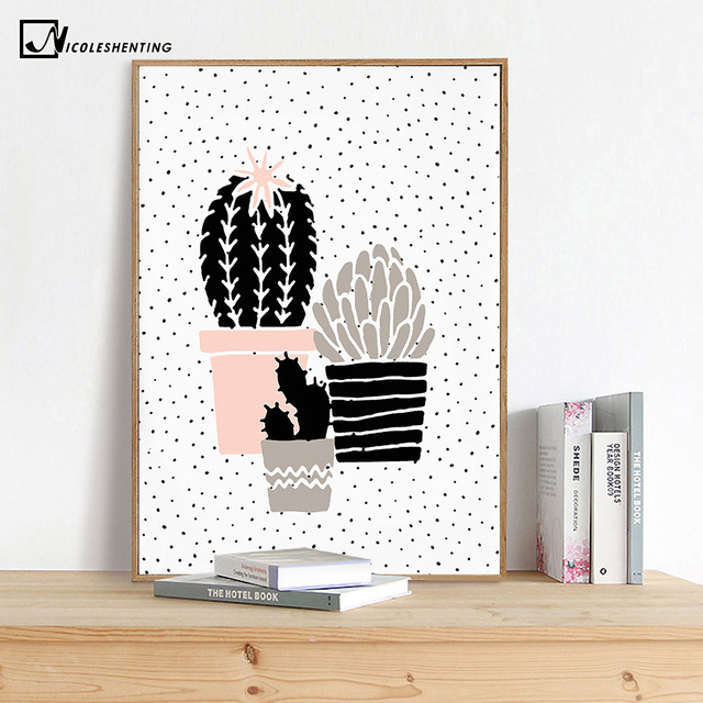 Cool Cartoon Plant Cactus Poster Prints Minimalist Wall Art Canvas Painting Nursery Picture Modern Room Decoration Home Minimalist - New Wall Posters for Bedroom Minimalist