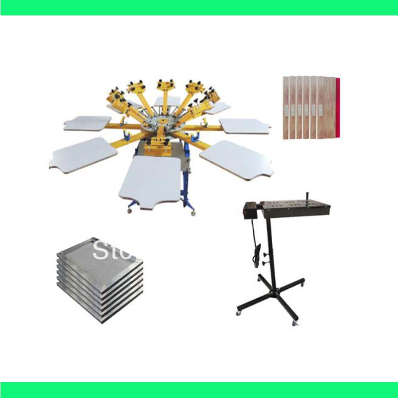 High Quality 8 color 8 station silk screen printing kit t shirt printer  press equipment carousel stretched frame squeegee-in Tools from Home &  Garden
