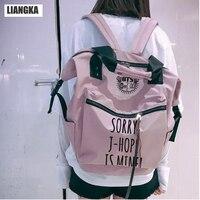 LIANGKA Multi functional Fans Aid BTS Bangtan Backpack Girls Teens School Bag Pink Blue Travel Bolsas Feminina