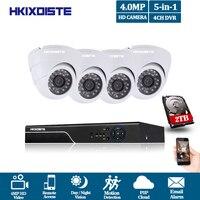 Новый 4CH HD AHD 4.0MP Главная Открытый безопасности Камера Системы Комплект 24 шт. объектив видеонаблюдения купол CCTV Камера P2P мобильный вид