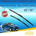 """Escovas Para PEUGEOT 206 (2000-2006) 2001 2002 2003 2004 2005 Carro Brisas Limpador Limpador de Parabrisa Blade 26 """"+ 16"""" Carros estilo"""
