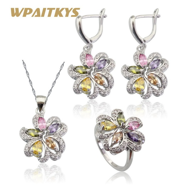20ce64c90754 Multicolor Stones Cubic Zirconia Silver Color Jewelry Sets For Women  Necklace Pendant Earrings Rings Free Gift