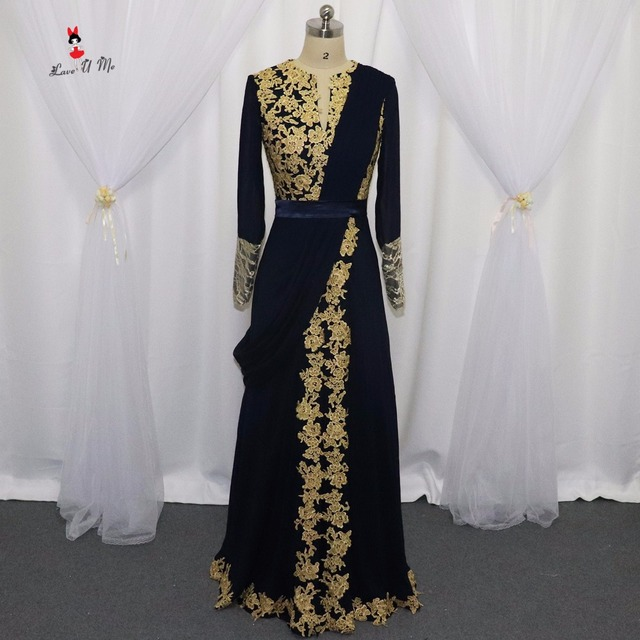 Navy Blue Long Sleeve Arabic Muslim Evening Dresses Gold Indian Prom ...