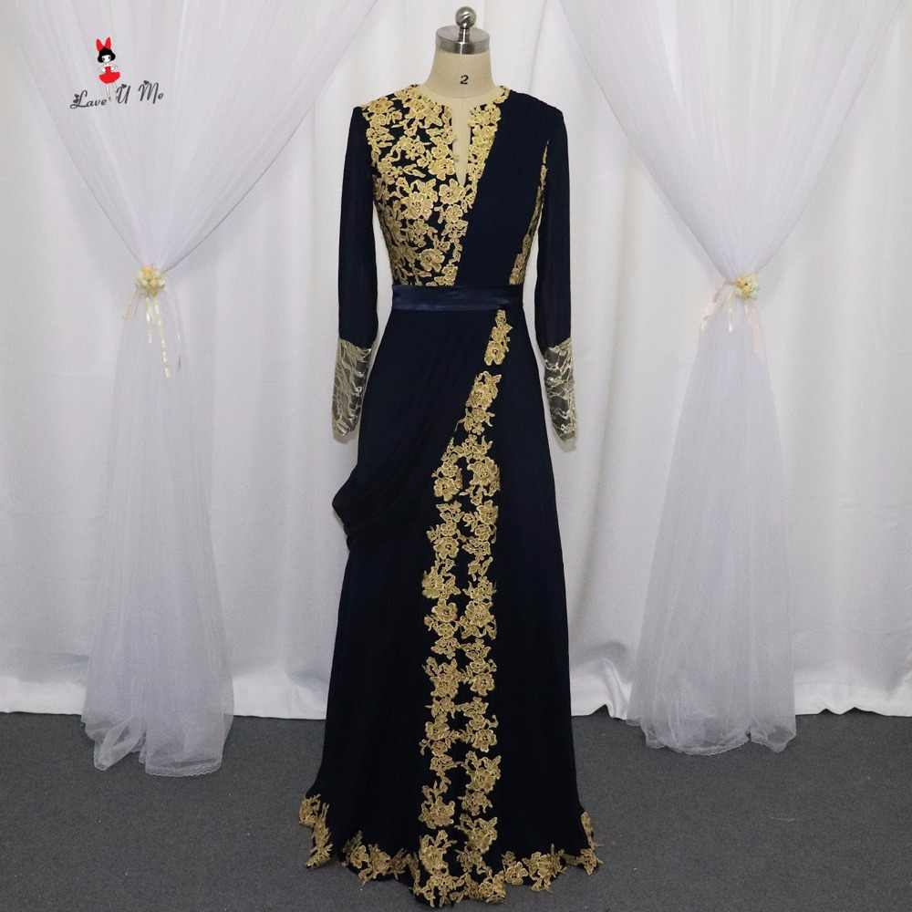 2e9879a98bcd0 Detail Feedback Questions about Navy Blue Long Sleeve Arabic Muslim Evening  Dresses Gold Indian Prom Dresses 2017 Lace Formal Evening Gowns Vestidos de  ...