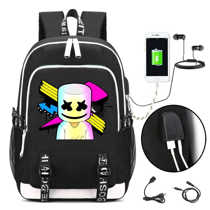 Marshmello face seul sac à dos DJ avec Port de chargement USB et verrouillage et interface casque pour le travail des étudiants hommes et femmes