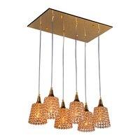 Современные золотые хрустальные рожки  подвесной светильник для столовой  подвесной светильник для ресторана  6 головок  барная стойка  Под...