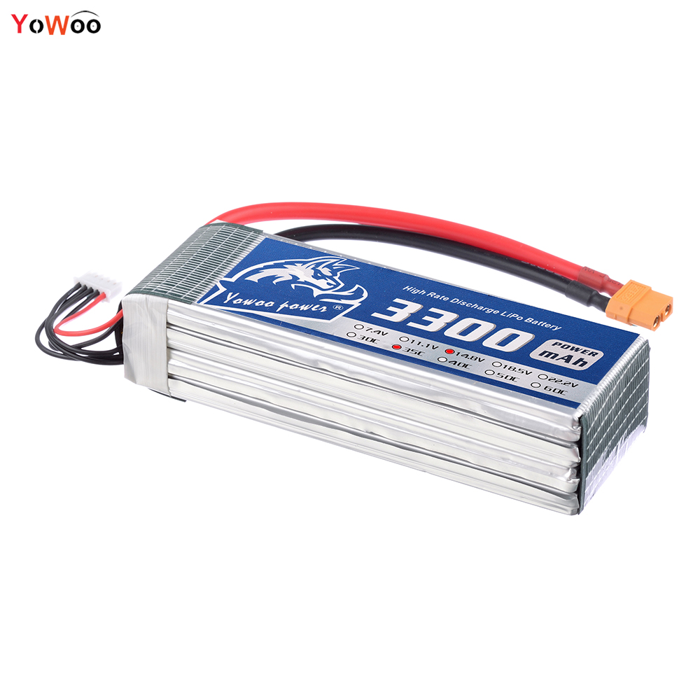 YOWOO Lipo 4S Battery 14.8v 3300mAh XT60 Plug 35C Max 70C RC Bateria Drone AKKU For Helicopter Car Boat Quadcopter Airplane UAV 1s 2s 3s 4s 5s 6s 7s 8s lipo battery balance connector for rc model battery esc