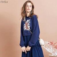 ARTKA 2019 Autumn New Women Dress Fashion Print Chiffon Stitching Dress Fake Two piece Casual Dresses Sweatshirt Dress ZA15093Q