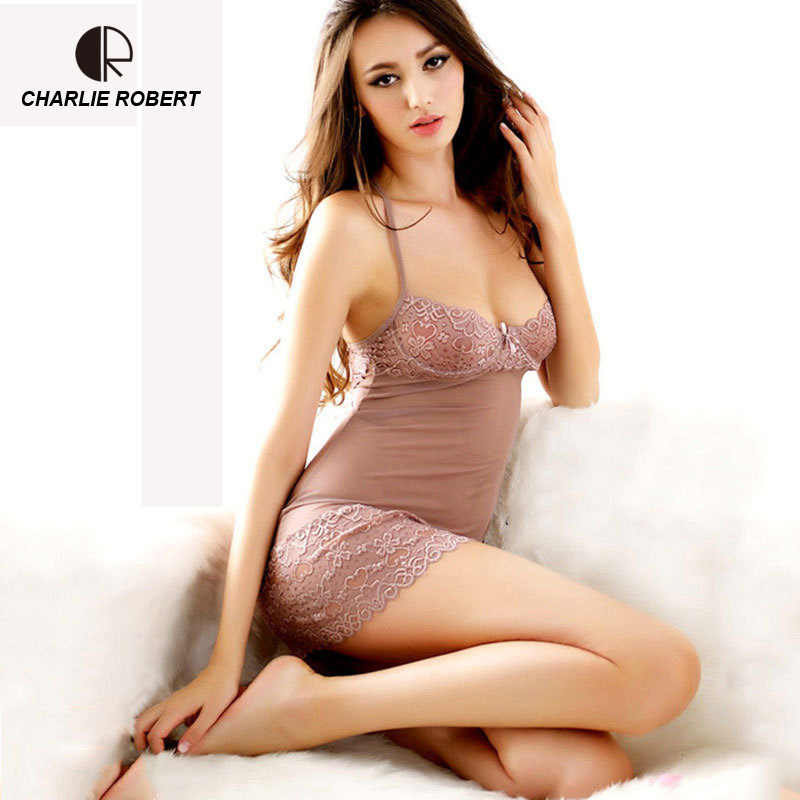 CR Lace Dress Sexy Sleepwear Female Temptation Women s Summer Lace  Nightgown Spaghetti Strap Belt Underwear AP237 47c3ff709