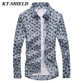 Floral Men Shirts Autumn New Fashion Brand Long sleeved Printing Shirts Men Camisa Masculina Slim fit Dress 5XL Men's Clothing