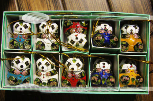 10pcs Chinese Cloisonne /Enamel panda Christmas Ornaments Charms Key Chains