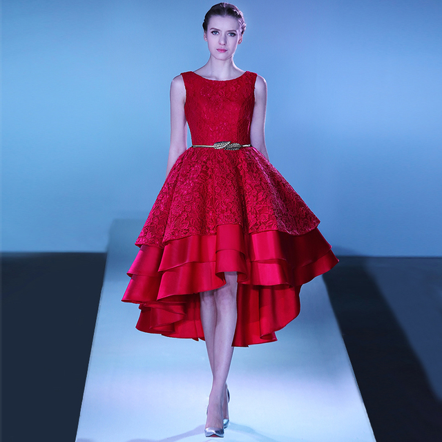 Alças de ombro mangas em camadas assimétricas alta baixa prom dress red 2016 plus size