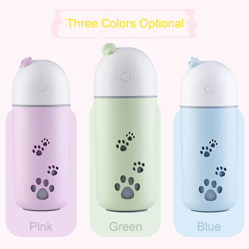 220ML Q Pet Air Humidifier With Colorful Ambient Light Ultrasonic Mist Maker With Continuous Intermittent Mist Mode
