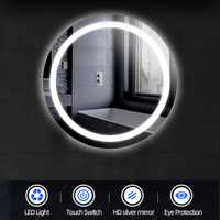 Round LED Mirror Bathroom Vanity Makeup Bath Room Decorative Touch Switch Smart Mirror Wall Mounted Lighted Make Up Mirror HWC