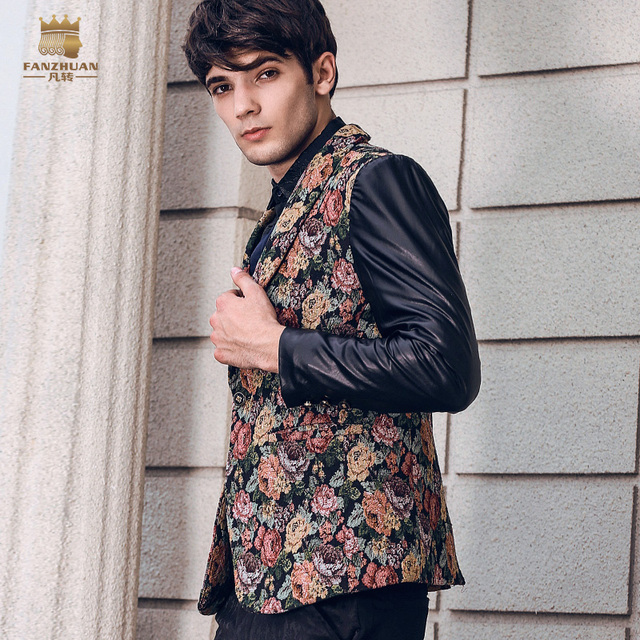 Fanzhuan New free shipping casual male MEN'S Long sleeved personality man floral printed small suit stitching slim blazer 810047