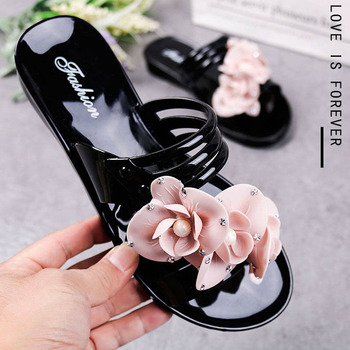 New flowers beach shoes ladies flat bottom home indoor and outdoor bathroom sandals and slippers 5