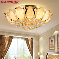 Lotus Flower Modern Ceiling Light With Glass Lampshade Gold Ceiling Lamp For Living Room Bedroom Lamparas