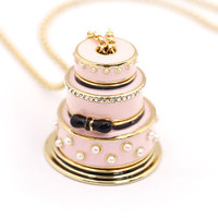 Happy Lovers Cake Pendant Long Chain Choker Necklace Fashion Jewelry Bijoux Femme Bijuteria Gifts For Women Costume Gold Chain
