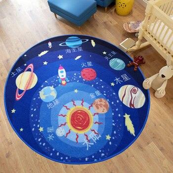 Streszczenie Projektu Niebieski Układu Słonecznego Gwiaździste Niebo Okrągły Mat Prać antypoślizgowe Dzieci Dywan Miękki i Przytulne Obszar Dywan do Sypialni
