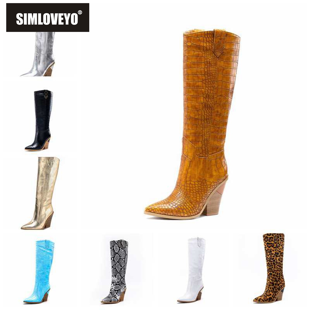 SIMLOVEYO 2020 New Brand women Knee boots Pointed toe Slip on Block Mid heels Western Cowboy