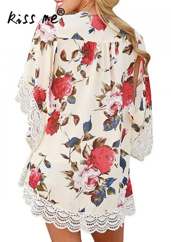 New Floral Beach Cover Up Kaftan White Lace Beach Cardigan Feminino Swim Suit Printed Bathing Suit Cover Ups Pareo Beach Tunic