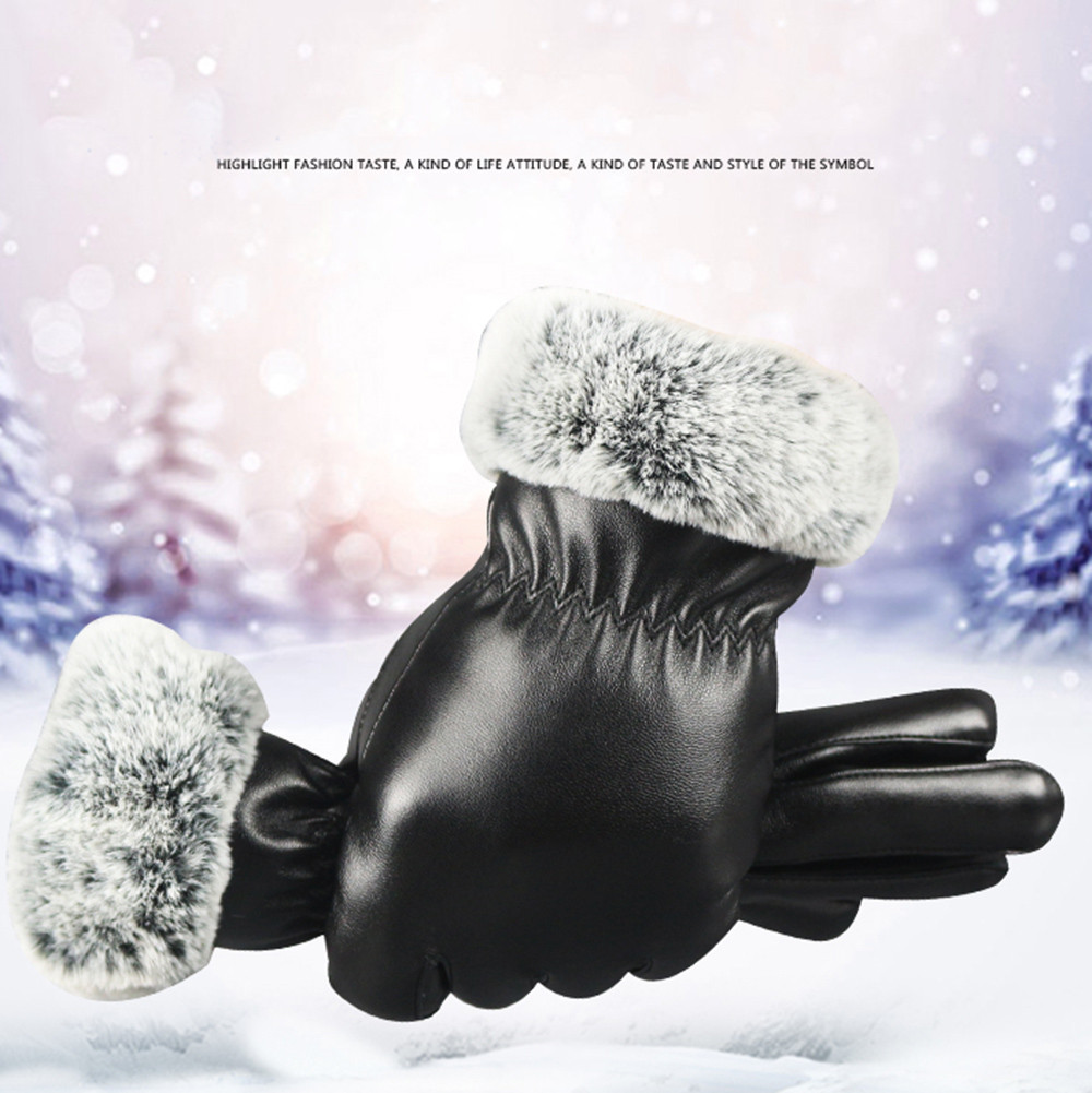 Apparel Accessories New Womens Gloves Genuine Leather Winter Warm Fluff Woman Soft Female Rabbit Fur Lining Riveted Clasp High-quality Mittens 18 Without Return