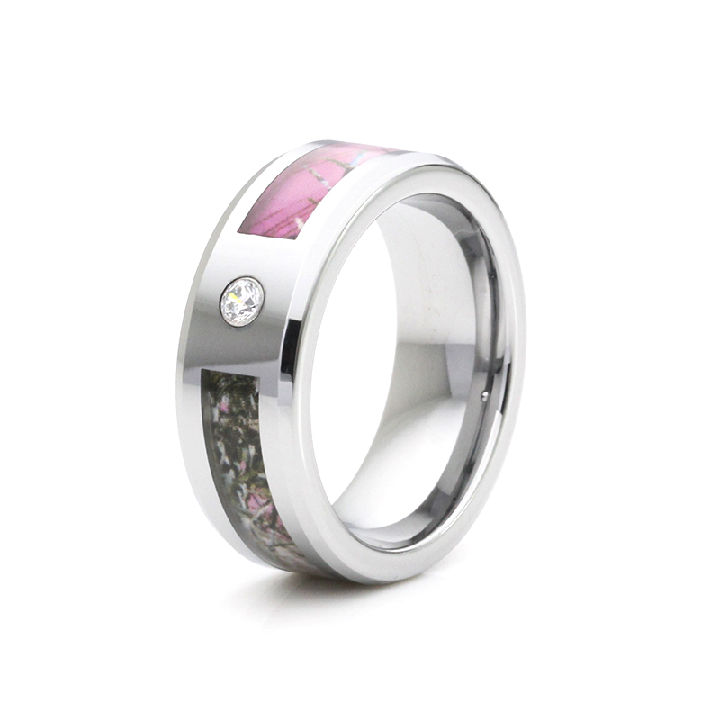 2016 very nice tungsten inlay ring with pink camo and one white cz inlay nice wedding - White Camo Wedding Rings