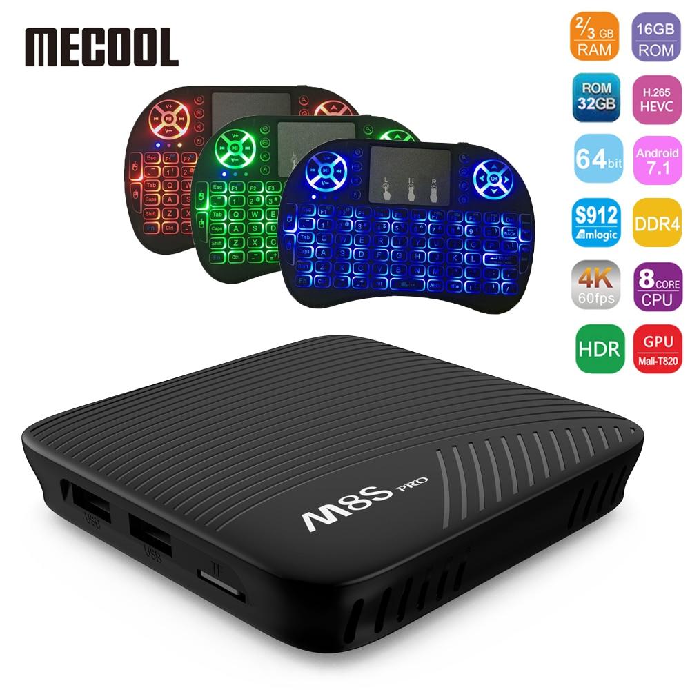 MECOOL M8S PRO Android 7.1 Smart TV Box 2GB/3GB RAM 16GB ROM Amlogic S912 Set Top Box 4K  BT WiFi Media Player TV Box Pk A95X