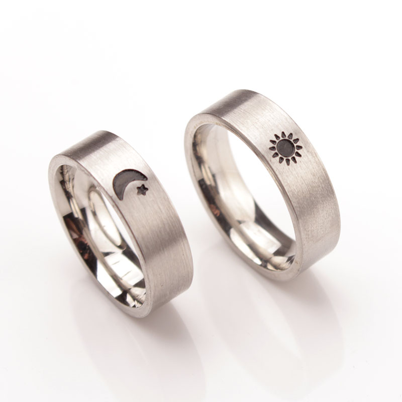 Sun And Moon Ring Simple Couples Rings Set His And Her Promise Rings