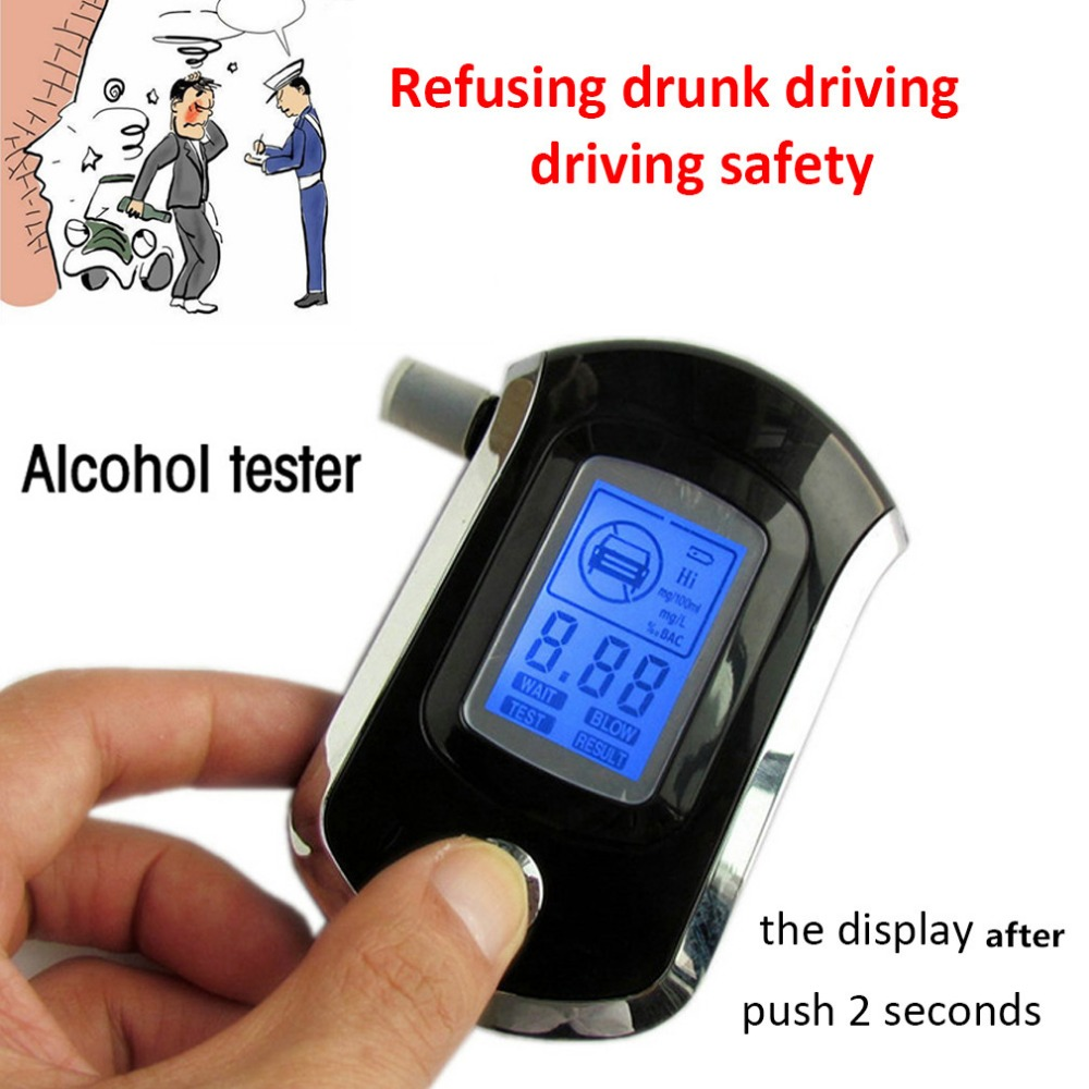Digital Breath Alcohol Tester Breathalyzer With LCD Dispaly With 5 Mouthpieces Police Alcohol Parking Breathalyser
