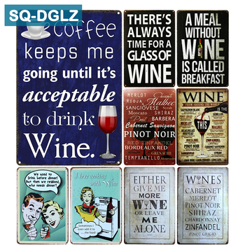 [SQ-DGLZ]Mellow WINE Metal Sign Bar Wall Decor Vintage Metal Crafts Home Decor Painting Plaques Art Poster