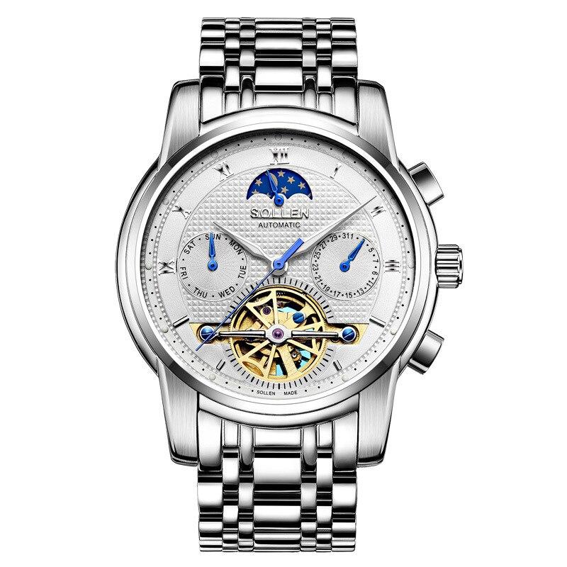 New Automatic mechanical watch business hollow watch men's steel waterproof luminous multi-functional male watch zegarki meskie цена и фото