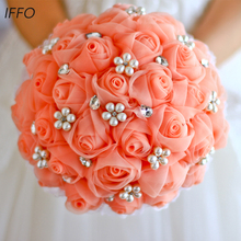 Bride holding flowers brooch bouquet bridesmaids bouquets roses hand made high end color can be customized