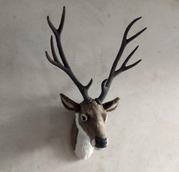Имитация животного, коричневая голова Сика, жесткая модель, пластик и меха, большие 32x25x70 см, настенное украшение для дома, игрушка в подарок