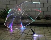 2pcs/lot 103cm diameter auto open transparent PVC LED 7 colour changing lighting POE umbrella environmental protecting parasol