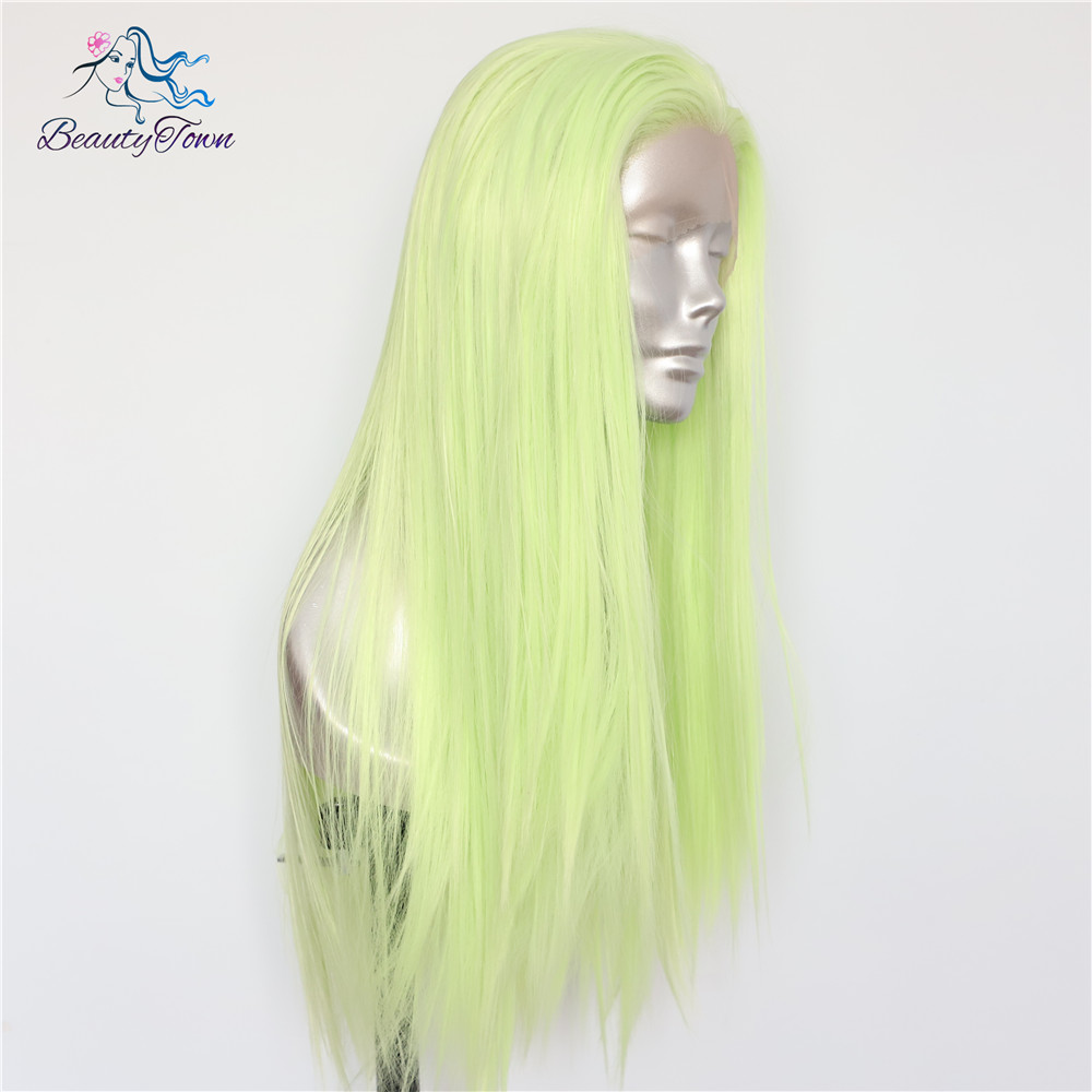 BeautyTown Light Green Color Heat Resistant Hair 150 Denstiy Cosplay Perruque Masquera Women Wedding Synthetic Lace