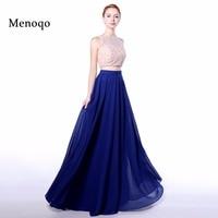 Menoqo Real Model A Line Chiffon Top Lace Pearls Bodice Vestido De Vesta Women Pageant Gown 2 piece prom dresses