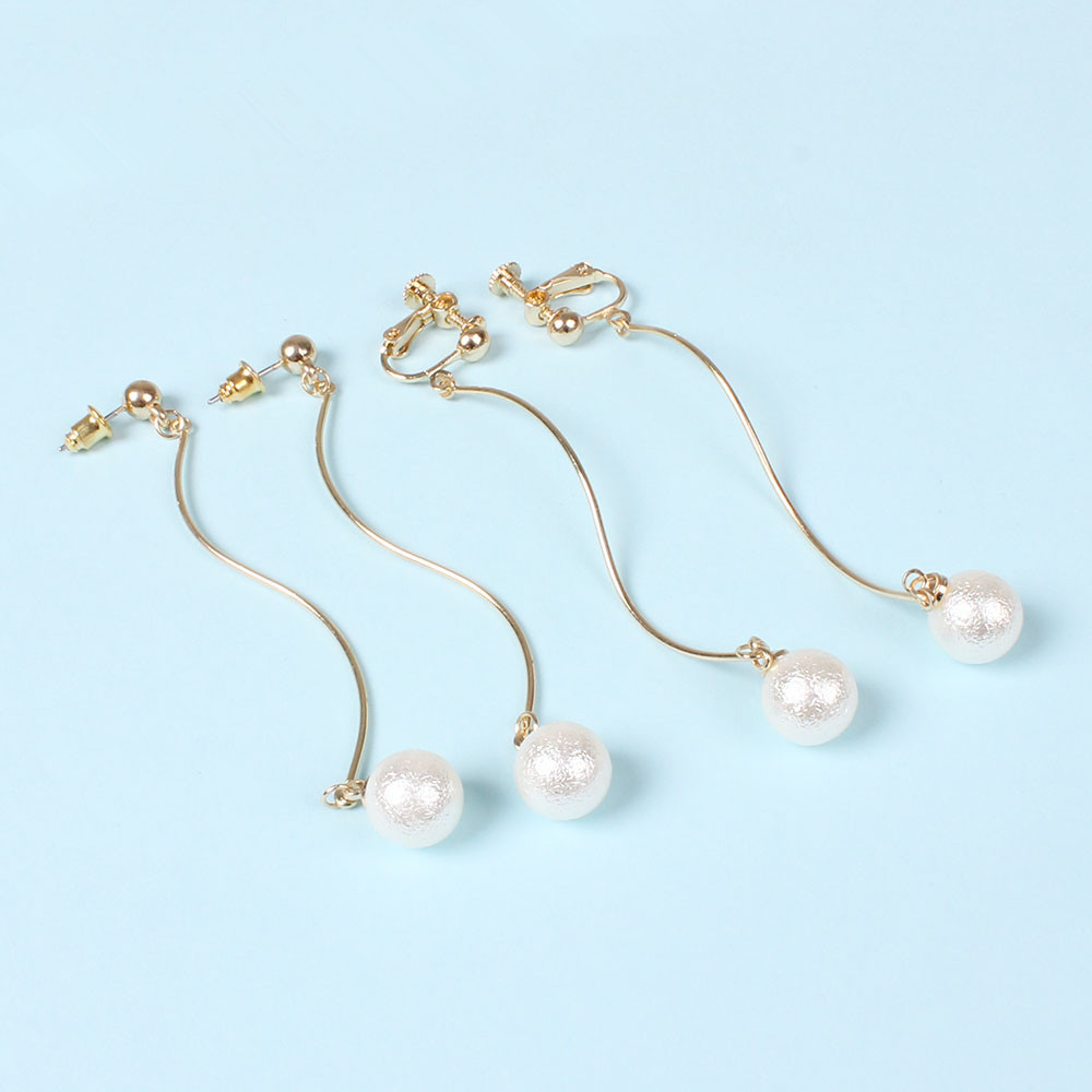Japanese hand made imitation pearl wrinkles circular S streamline Ms earrings ear clip ...