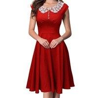 Liva Girl Fashion Solid A Line Dress Short Sleeve Cute Peter Pan Collar Dress Ladies Female