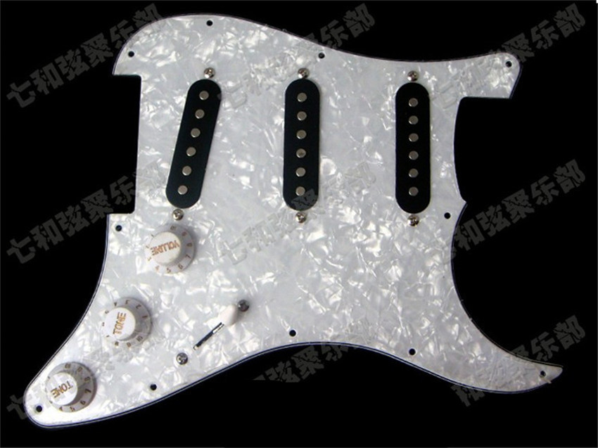White Pearl SSS Loaded Prewired Pickguard scratchplate Circuit Assembly Electric Guitar with SSS BlacK pickup Guitar Accessories 4pcs new quality guitar pickguard sss yellow pearl 11 hole for electric strat replacement