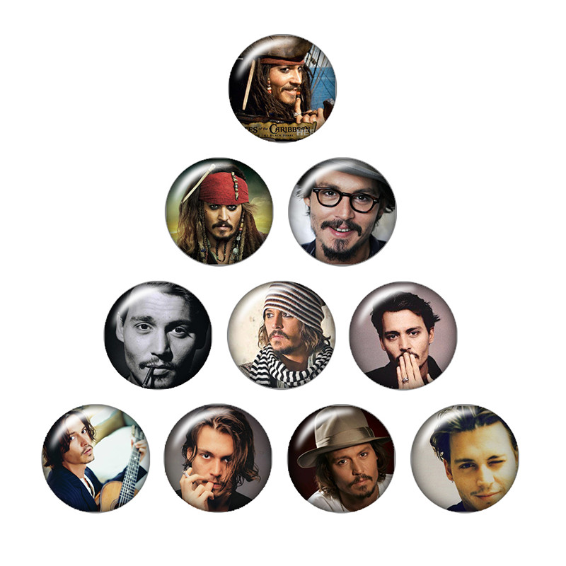 10pcs 18mm mixed Johnny Depp ZB0133 Round Domes Photo Glass Cabochon for snap buttons pe ...