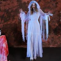 White Halloween Bride Cosplay Costume For Women Scary Halloween Dress Masquerade Party Dress Carnival Cosplay Zombie