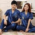Pijamas de Seda chineses Para As Mulheres & Homens Casais Matching Pijama Homewear Primavera Outono de Manga Comprida de Seda de Cetim Conjuntos de Pijama Casal